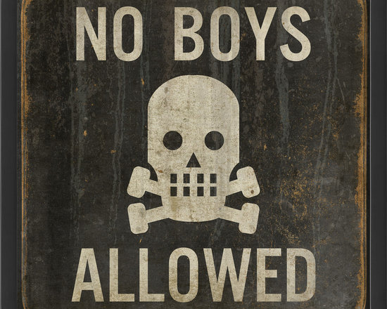 """The Artwork Factory - 'No Boys Allowed' Print - This way to the girl's room. It just doesn't get more explicit than """"No Boys Allowed"""" with a scull and crossbones. On the other hand, if it makes you laugh, you're welcome to enter regardless of gender."""
