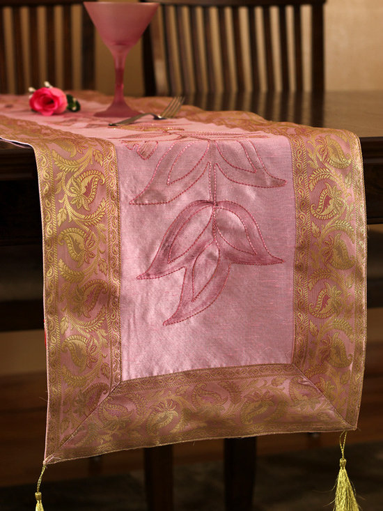 """Elegant Table Runners - Unique """"Hand Painted"""" table runner. Pink Rose color. Decorative Indian design."""