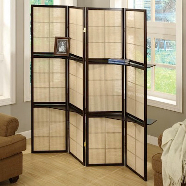 cappuccino wood framed 4 panel room divider with shelves
