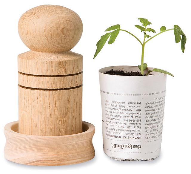Paper Pot Maker contemporary-outdoor-planters