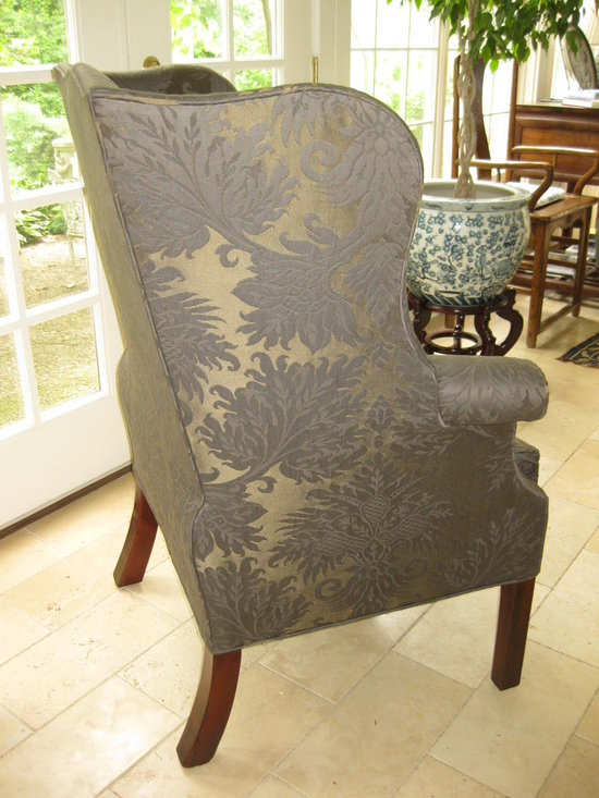 """Antique wing chair - American Chippendale, 18th century wing chair, walnut, serpentine wings, down loose cushion, freshly recovered in Christian Liaigre fabric. Height 44"""", width 34"""" overall."""