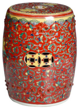 Famille Rose Red Floral Chinese Porcelain Stool Eclectic