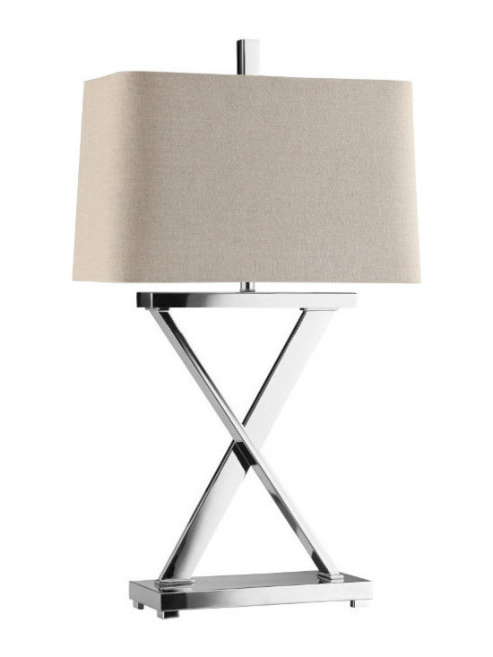 None - Max Chrome 'X' Table Lamp - Look at this chrome table lamp and what do you see? Does the 'X' mean 'hugs,' 'ten,' or 'X-marks the spot?' A square rectangular shade completes the look.
