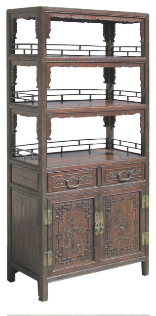 Chinese Antique Bamboo Flower Vase Carving Bookcase Display Cabinet asian-bookcases