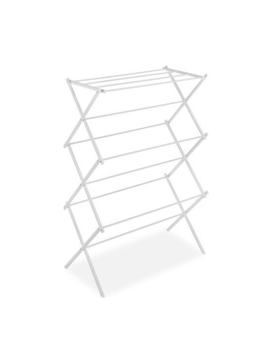 Whitmor - Folding Drying Rack, White by Whitmor - Dry all your clothes with our White Foldable Drying Rack and save on your energy costs. This drying rack has an accordion design, letting you open it up easily and set it up anywhere. When done, simply fold it away when not in use. The laundry hanger folds so flatly it can be placed in a closet or even behind the washer or dryer.