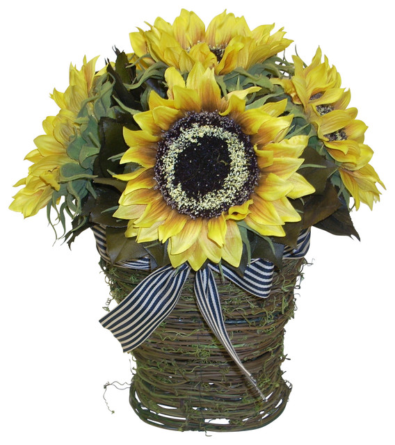Sunflower in grass basket traditional artificial for Artificial bees for decoration