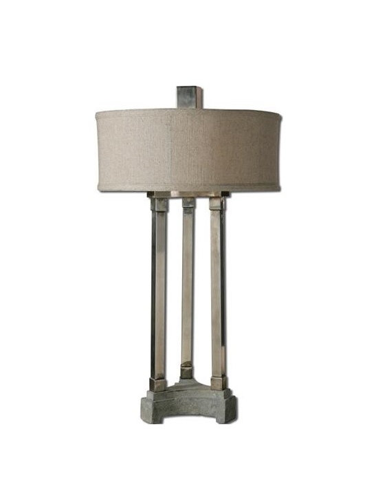 Uttermost Risto, Tri-Column - Lightly antiqued brushed aluminum with a concrete base. The round hardback drum shade is an oatmeal linen fabric with natural slubbing