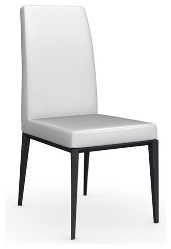 Bess Leather Chair, Graphite Legs, Optic White, Set of 2 modern-dining-chairs
