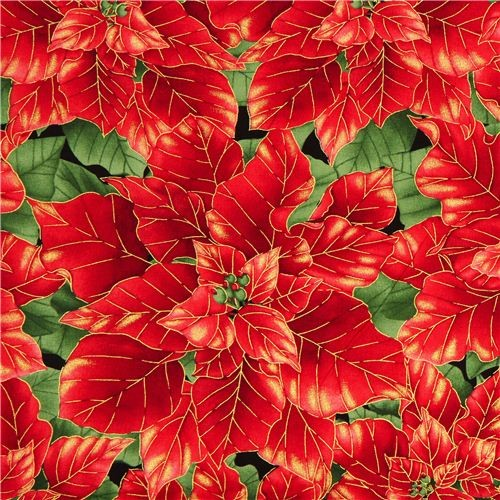 black designer Christmas fabric with red poinsettia - Fabric - by ModeS Group Ltd