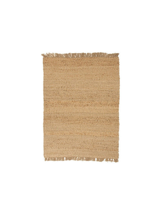 "Grandin Road - Wiltshire Area Rug - 2'6"" x 4' - Soft, eco-friendly area rug. Durable, woven construction with hand-knotted fringe ends. 80% jute/20% recycled Chindi cotton fabric. 2/5"" thick. Extend the life of your rug with a Nonslip Rug Grip (sold separately)Imported. Woven in the colors of sand and wheat, our reversible rug is crafted from a harmonious blend of jute and recycled cotton.. . . . Extend the life of your rug with a Nonslip Rug Grip (sold separately). . Imported."