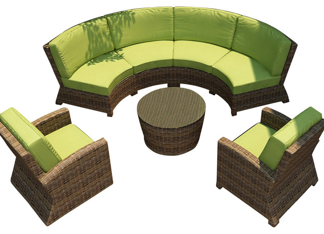 Cypress 5 Piece Outdoor Curved Sectional Set Kiwi Cushions Contemporary Patio Furniture And