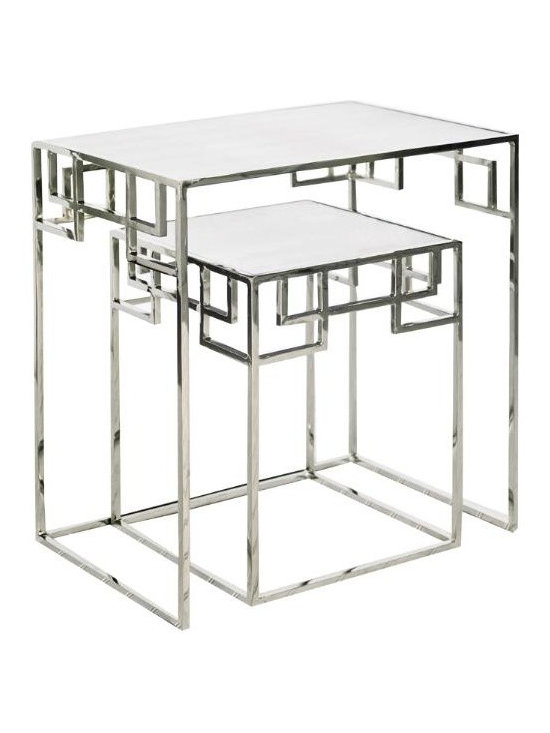 """Worlds Away - Worlds Away Nesting Tables-Available in Two Different Color, Nickel - This lovely set of tables is a perfect solution when you may need two tables or just one table.  The tables are available in a Gold Leaf or Nickel finish and have mirrored tops.  The smaller table measures 15"""" X 15"""" X 20""""H and the larger table measures 24""""W X 16""""D X 26""""H."""