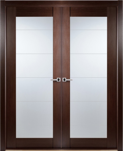 Contemporary african wenge interior double door lined for Double glass doors