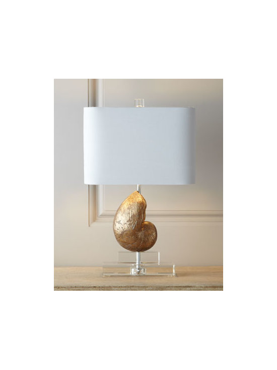 Horchow - Sanibel Mini-Shell Lamp - Dazzling for both coastal-chic and contemporary settings, this lamp features a realistic-looking nautilus shell resting on two clear rectangular blocks. A rounded-corner, rectangular hardback shade and a square optic-crystal finial complete the look. H...