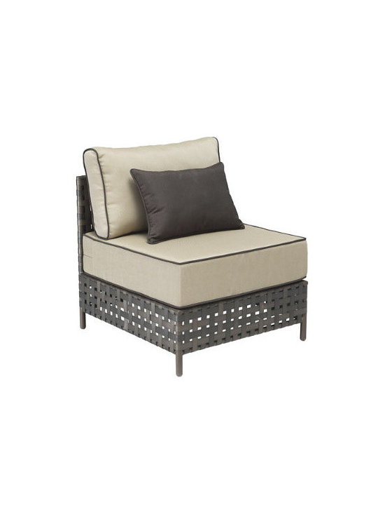 Grandin Road - Summerland Key Middle Chair - Outdoor seating collection comprised of Right Corner Chaise, Left Corner Chaise, Middle Chair and Coffee Table, each sold separately. Pieces can be arranged in various configurations to suit your seating needs. Brown aluminum frames with airy openwork construction. Includes weather-resistant beige cushions with brown piping. Coffee Table comes features a tempered glass top. Design an indulgent outdoor oasis with our Summerland Key Outdoor Sectional Collection. Two chaises and a middle chair can be arranged any way you like. Piped cushions are included, as well as contrasting toss pillows, allowing you to create restful seating that's fit for a king.  .  .  .  .  . Imported .