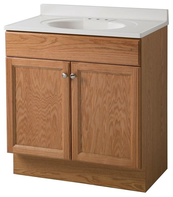 Glacier Bay Cabinets 30 In Vanity In Oak With Cultured Marble Vanity Top In Contemporary