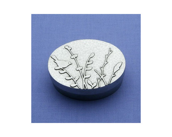 Beehive Oval Meadow Drawing Box - The Oval Meadow Drawing Box by Beehive is perfect for storing small items on your dresser, or as a gift box for a special piece of jewelry. The inside bottom of the box is lined with deep red felt to cushion your tiny treasures.
