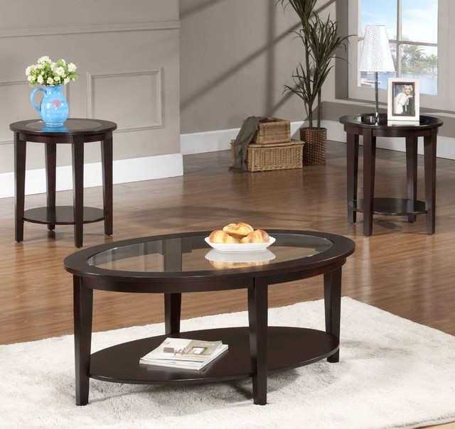 Oval Glass Coffee Table 3 Piece Set Contemporary Coffee Table Sets