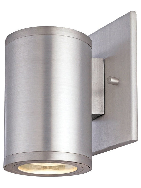 """CSL - Silo Satin Aluminum 5"""" High ADA Outdoor Wall Light - This contemporary outdoor wall light offers smart styling and a sleek compact design. This piece starts with aluminum construction and is presented in a gorgeous satin aluminum finish. The Silo wall light offers bright downlight via a brilliant halogen bulb. This attractive design is a great choice for adding light and style to your exterior. Satin aluminum finish. Aluminum construction. Rated for wet locations. ADA compliant. Includes one 35 watt halogen bulb. 5"""" high. 3"""" wide. Extends 3 1/2"""" from the wall. Backplate is 4 1/2"""" square.  Satin aluminum finish.   Aluminum construction.   Rated for wet locations.   ADA compliant.   Includes one 35 watt halogen bulb.   5"""" high.   3"""" wide.   Extends 3 1/2"""" from the wall.   Backplate is 4 1/2"""" square."""