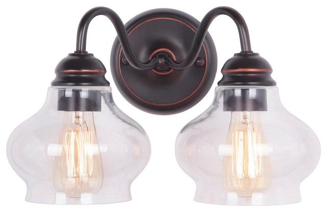 Clear Cloche Glass Bath Light- 2 Light lamp-shades