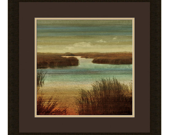 """Mantle Art Company - """"On the Water I"""" custom framed art - Beautiful modern art custom framed by designers to bring out the best in this piece of art. Made in the USA"""