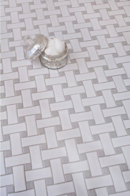Glazed Ceramic Basketweave Tile White With Grey