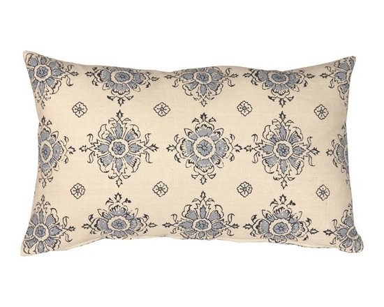 Pillow Decor - Pillow Decor - Medallion Handprint Lake 12X20 Throw Pillow - This exquisite 100% cotton throw pillow has an intricate block print re-scaled and re-imagined and is infused with contemporary color. The block prints are in rich navy and soft blue set against a cream background.