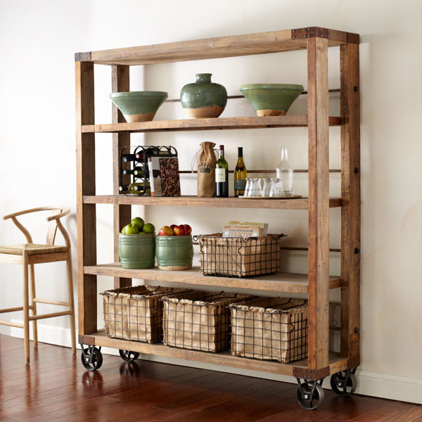 Reclaimed Wood amp Pipe Shelving Unit On Wheels