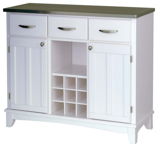 Large White Base and Stainless Steel Top Buffet modern-buffets-and-sideboards