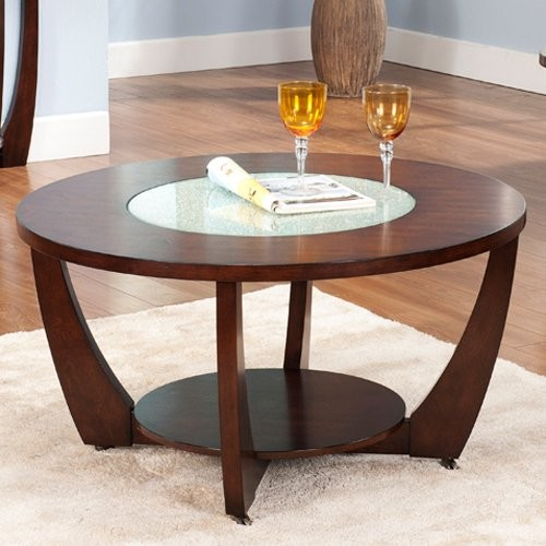 Modern Round Wooden Coffee Table 110: Steve Silver Rafael Round Cherry Wood And Glass Coffee