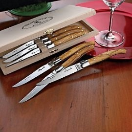 Jean Dubost Laguiole 6-Piece Steak Knives - Olivewood contemporary-flatware