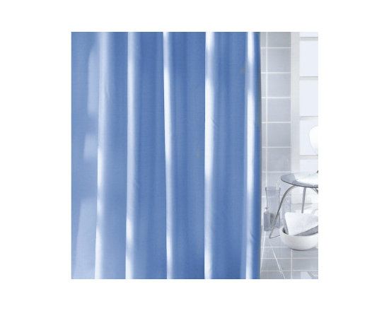Caravelle Luxury Fabric Shower Curtain from Vita Futura - Our Caravelle shower curtain is a solid-color, fabric shower curtain. Available in shower stall, tub and extra-wide widths. This shower curtain is offered in your choice of beige / natural, white or blue. Much like the shower curtains you find in many luxury hotels and spas, this shower curtain does not require the use of a shower curtain liner.  Made of quick-dry and easy-care  fabric. As with all of oour products, our Caravelle shower curtain is designed and produced in Germany.