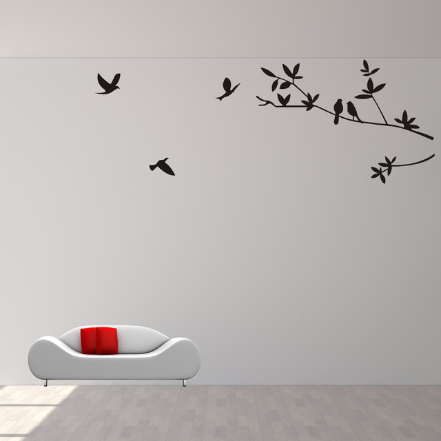 Branch with birds wall decal wall sticker wall art vinyl for Bird wall art