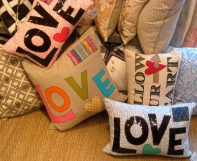 Love lettering graphic Word Cotton Throw Pillows eclectic-decorative-pillows