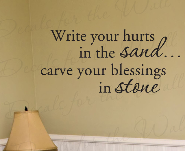 Wall Quote Decal Vinyl Sticker Write Your Hurts in the Sand God Religious R54 - Modern - Wall ...