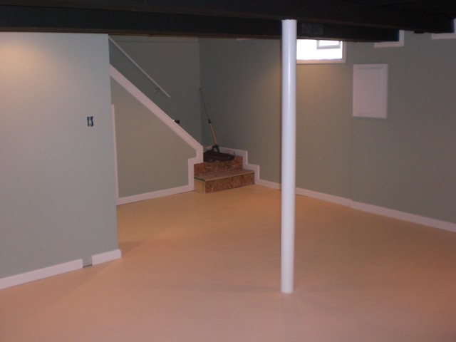 basement ceiling painted black walls and trim painted and floor