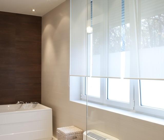 Solar Screen Shade | Modern Bathroom | Brown & White | modern-roller ...