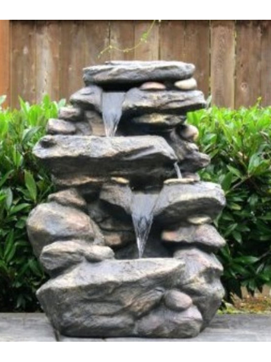 Harmony Fountains 27-inch Slick Rock Waterfall Fountain with LED Lights -