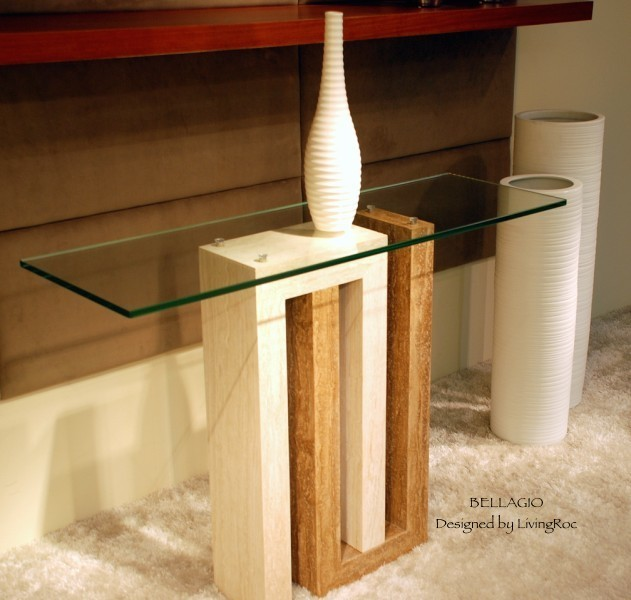 Marble Console Table Travertine and Tempered glass-BELLAGIO craftsman-entry