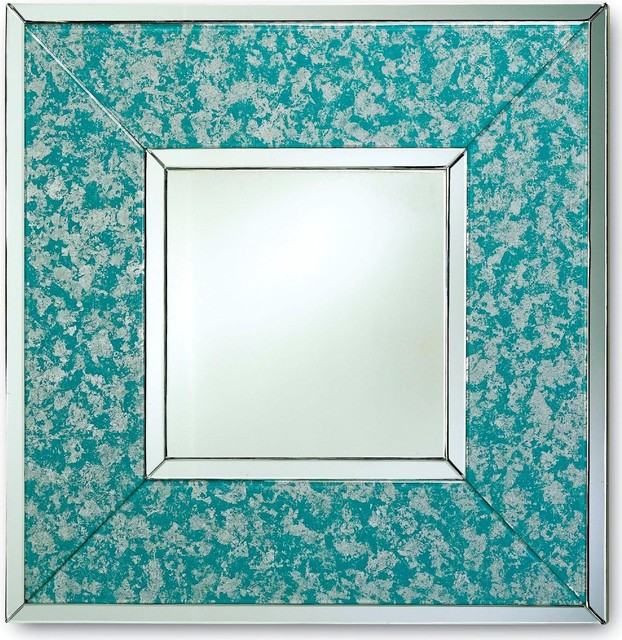 Currey And Company Mombo Mirror, Sky Blue contemporary-wall-mirrors