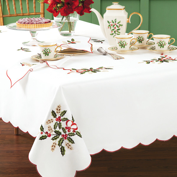 Lenox White Cutwork Holiday Nouveau Christmas Tablecloth