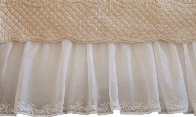Daisy Dot Cream Full Bed Skirt traditional-bedskirts