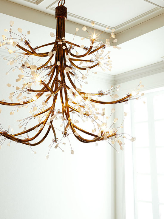 Lighting - Sculptural antiqued-gold branches and quartz-crystal buds turn this chandelier into jewelry for your ceiling. It brings sophistication to room lighting.