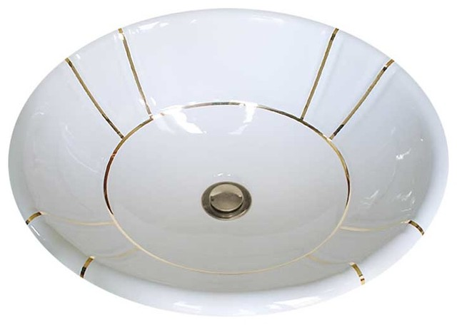 Gold Bands Fluted Hand Painted Sink traditional-bathroom-sinks