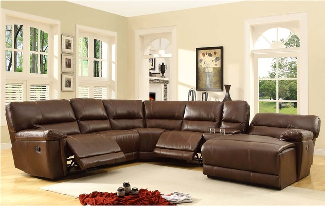 Modern Brown Leather Reclining Sectional Sofa Chaise