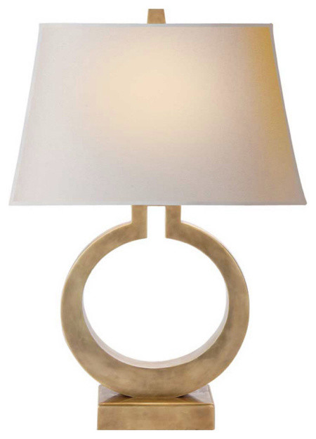 O Lamp, Antiqued Brass contemporary table lamps
