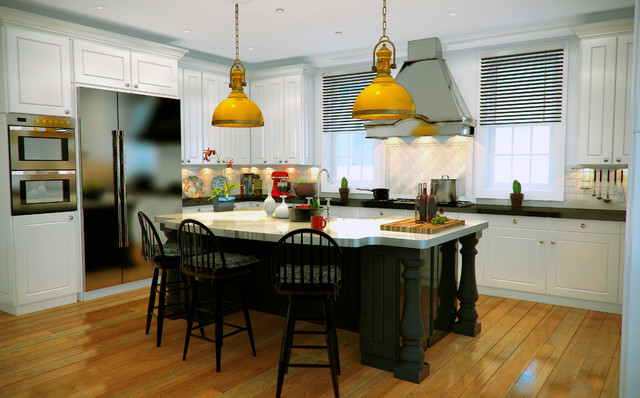 TRADITIONAL KITCHEN DESIGN 3D RENDERING traditional