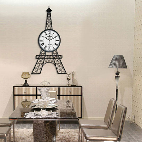 90cm eiffel tower large wall clock for living room for Living room wall clocks
