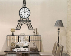 Unique Modern Large 90cm Height Eiffel Tower Wall Clock for Living Room Big Meta modern