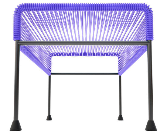 Adam Ottoman, Purple Weave On Black Frame - Sleek woven vinyl makes this coffee table stand out from the crowd. It's a great option for indoor or outdoor use since the vinyl is UV protected and the metal base is galvanized. The only challenge would be deciding on your favorite color combination.